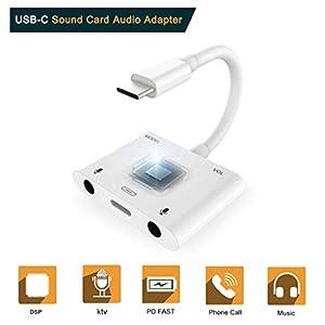 Dkings Adapter, Voice Change USB-C-Soundadapter Externe Stereo-Soundkarte Kopfhörer-Lautsprecher, USB-C-Soundadapter für Sprachwechsel Externer Stereo-Soundkarte Kopfhörer-Lautsprecher