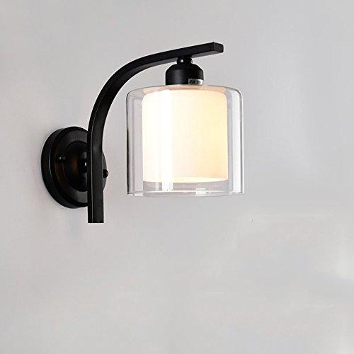 Doppel-Glas Wand Lampe Schlafzimmer Lampe Nachttisch Lampe Kreative Studie Wohnzimmer Balkon Treppenhaus Lampen ( Farbe : Schwarz ) -