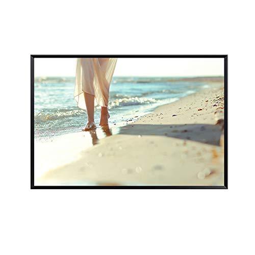 NIMCG Splendida Vista sulla Spiaggia Decorata con Poster murali e Abiti Stampati Bella Donna Pittura Decorativa (Senza Cornice) A3 30x40CM