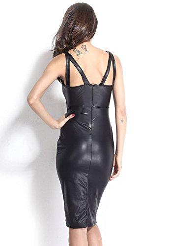 Pinkyee Damen Kleid Schwarz