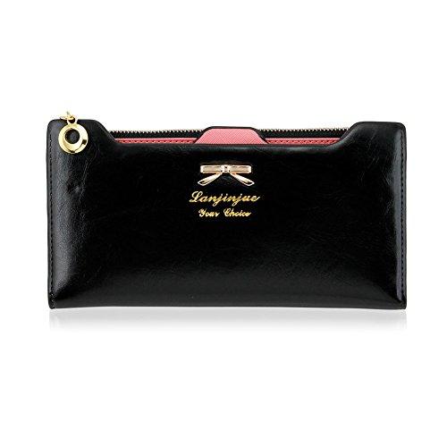 41Tnlg4gGVL - CHIC-CHIC Women Vintage Clutch Wallet Button Card Holder Lady Long Handbag Bag Case Purse (Black)