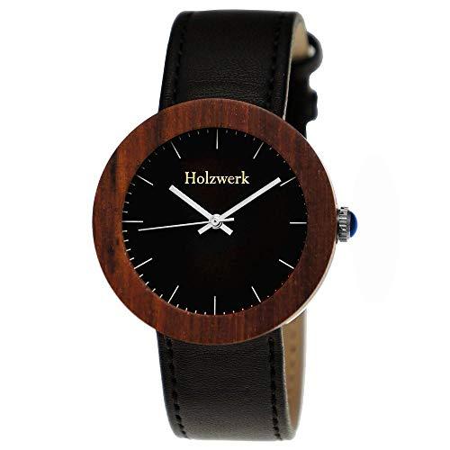 Handgefertigte Holzwerk Germany Designer Damen-Uhr Öko Natur Holz-Uhr Leder Armband-Uhr Analog Klassisch Quarz-Uhr Schwarz Braun Silber (Schwarz)