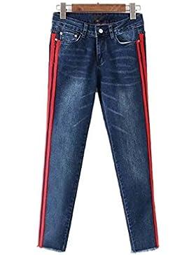 Pantalones vaqueros del dril de algodón de la raya lateral de la manera Bolsillos Pantalones longitud del tobillo...