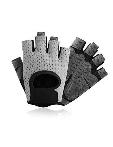 WYSTAO Atmungsaktive Handschuhe halbe Finger weibliche Männer Frühling und Sommer Radfahren Fitness Rutschfeste Silikon Outdoor Kletter-Armband schnell trocknende dünne Handschuhe (Farbe : M)