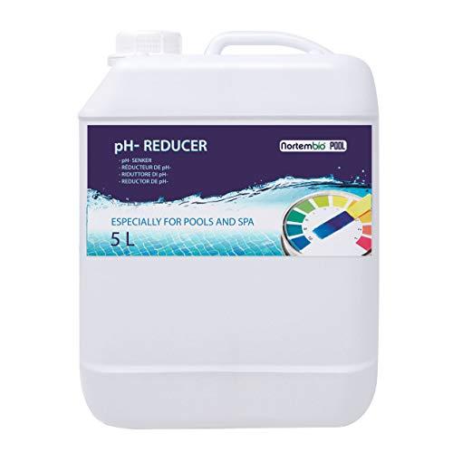 NortemBio Pool pH- Minus 5 L, Réducteur Organique pH pour Piscine et Spa. Améliore la Qualité de l'eau, Correcteur pH, Bénéfique pour la Santé. Produit CE.