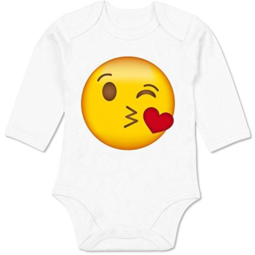 Shirtracer Vatertag & Muttertag - Emoji Kuss-Mund - 6-12 Monate - Weiß - BZ30 - Baby Body Langarm (8 Für Kostüme Gruppe)