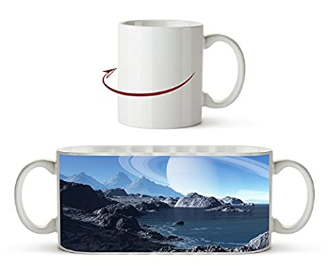 Meeres Landschaft mit Saturn am Himmel als Motivetasse 300ml, aus Keramik weiß, wunderbar als Geschenkidee oder ihre neue Lieblingstasse.