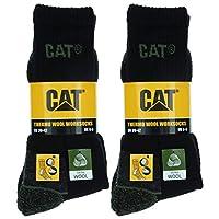 Caterpillar Wool Work Socks 4 Paar Werksokken, Warm, Comfortabel, Versterkte Teen en Hiel, Wollen Kwaliteit (Zwart, 43-46)