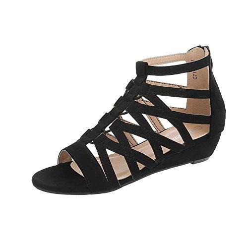 Ital-Design Keilsandaletten Damen-Schuhe Keilsandaletten Keilabsatz/Wedge Keilabsatz Reißverschluss Sandalen & Sandaletten Schwarz, Gr 38, C7112-