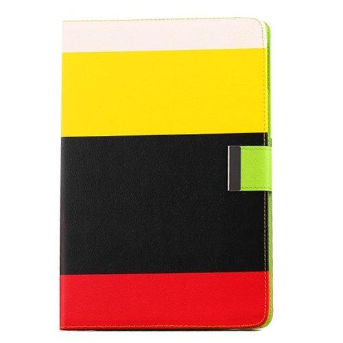 Apexel Rainbow 4Farbe Hohe Qualität PU Leder Wallet Folio Flip Schutzhülle mit Kreditkarte Halter für Apple iPad Air, Weiß/Rot/Gelb/Pink, SPIG9 Schwarz White+Yellow+Black+Red (Ip5 Wallet)