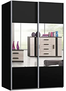 schwebetürenschrank schwarz mit spiegel