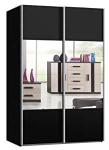 schwebet renschrank schiebet renschrank ca 150 cm breit schwarz matt mit spiegel. Black Bedroom Furniture Sets. Home Design Ideas