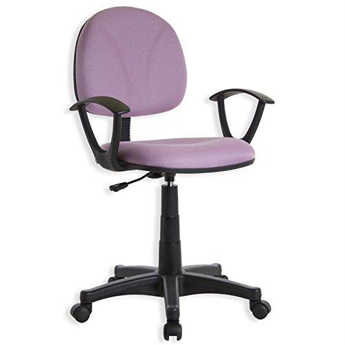 Fauteuil chaise de bureau avec accoudoirs DERIK, hauteur réglable roulettes tissu rose