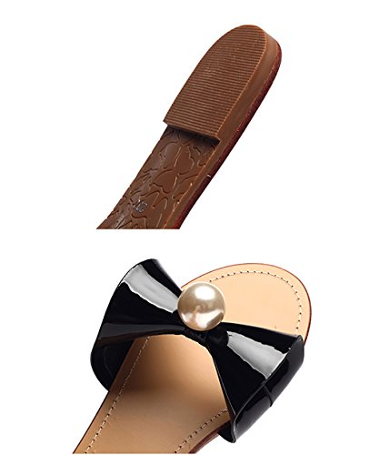 CHAOXIANG Pantofole Da Donna Antiscivolo Con tacco Ciabatte Piatte Sandali Da Surf Nuova Estate Ciabatte Spiaggia ( Colore : Rosa , dimensioni : EU36/UK4-4.5/CN37 ) Nero