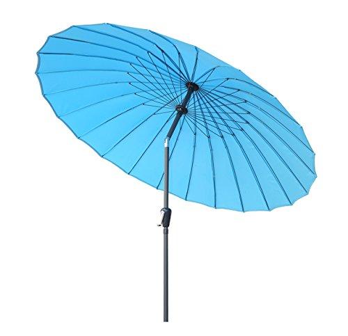 Angel Living 250cm Parasol Inclinable Parasol au Aluminium et Polyester ( Bleu sans la Base)