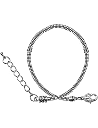 """Pandora compatable bracelet with large Heat clasp by BodyTrend - silver plated - sizes 6.5"""" to 9"""" with extensions - the ends screw off so that you can slide in any bead with 3MM hole"""
