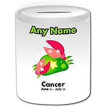 Regalo personalizado–cáncer símbolo caja de dinero (del tema de diseño, color blanco)–cualquier nombre/mensaje en su único–Astrología signo astrológico símbolo cangrejo 21de junio–22de julio