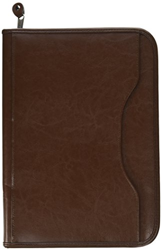 Deluxe Executive Vintage Brown Leather Zippered Padfolio by Gemline - Deluxe Padfolio