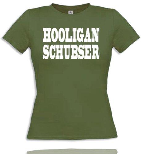 Women T-Shirt Gr. XL - Olive/Weiss Hooligan Schubser