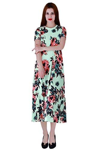 YMING Damen Kleid Blumendruck Casual Strandkeid Wadenlang Kleid Partykleid Übergröße,Grün,XXXL / DE 46-48 (Crêpe-faltenrock)
