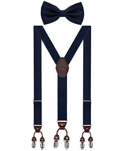 Herren Hosenträger Breit 6 Clips mit Leder in Y-Form / Extra Starken 35mm Elastisch und Längenverstellbar in Verschiedenen Farben Designs für Männer und Damen Hose, Blau Fliege, Gr. one size