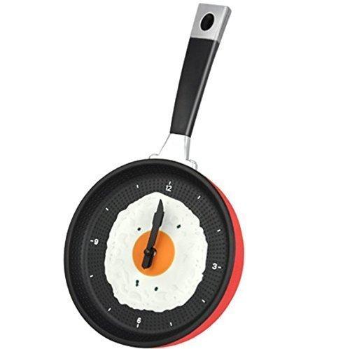 UChic 1PCS 35.5x18.8cm / 14.2\'\'x7.52 \'\' Bratpfanne Uhr mit Spiegelei - Shabby Chic, Küche unter dem Motto einzigartige Küche Cafe Wanduhr - rot
