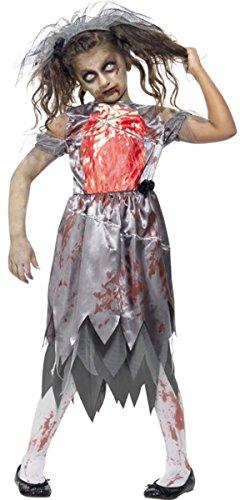 Kinder Halloween Fancy Kleid Mädchen Zombie Braut Kostüm Komplettes Outfit grau (Kinder Komplette Zombie Kostüm)
