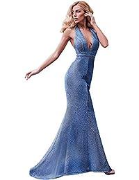 24bf725397e72 Ever-Pretty Vestito Lungo da Sera e Strascico Sirena Donna Brillante Scollo  a V Schiena