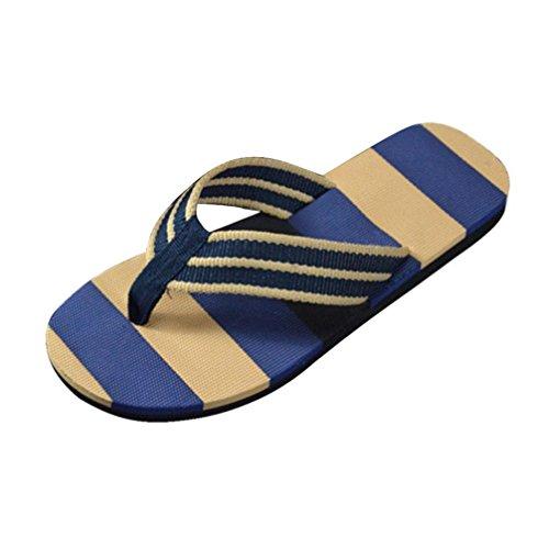 Herren Hausschuhe Sommer Mumuj Mode Jungen Streifen Flip Flops Bad Sandalen Strandschuhe Sandalen Slipper Freizeit Komfortable Flip-Flops Mokassins Slippers (40, Blau) (Neue Braune Streifen)