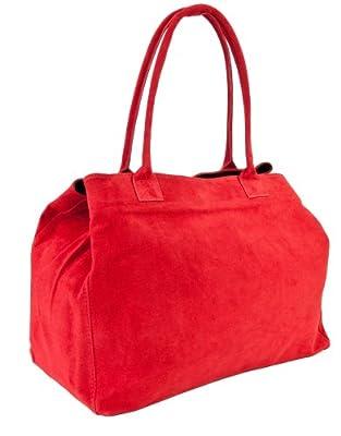 DELARA cabas sac à bandoulière spacieux en cuir daim