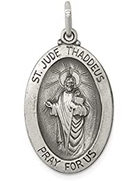 925 Sterling Silver Saint Jude Thaddeus Medal Pendant Charm Necklace Religious Patron St Fine Jewelry For Women Gift Set