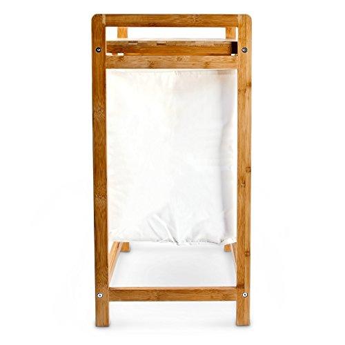 Wäschesammler mit Bambusgestell und Stoffbeutel - 4