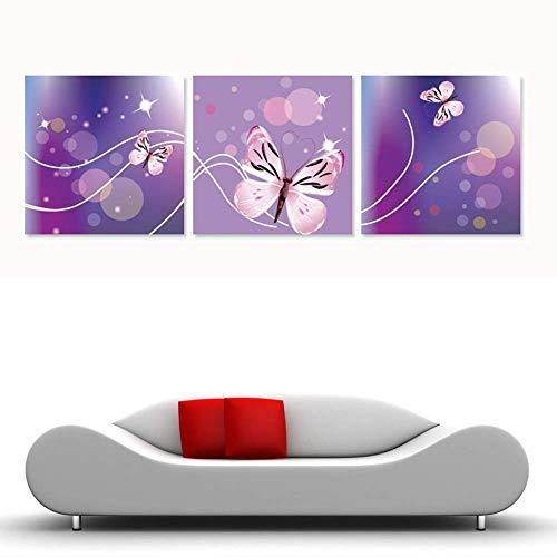 HBSHSM 3 Pièce Combinaison HD Imprimé Toile Peinture Violet Papillon Image La Chambre des Enfants Décoratif Mural