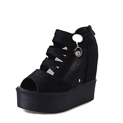 fashion chaussures de Dame/Version coréenne de hautes bottes sandales à plateforme/mesh chaussures creux B