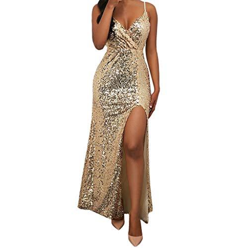 19 Jubiläumsfeier Ärmelloses, schlankes V-Ausschnitt für Frauen bodenlangen Kleider Vintage Ausgestelltes A-Linie Kleid(Small,Gold) ()