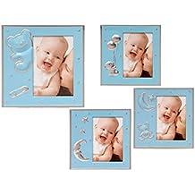 Portafotos aluminio bebe oso/luna azul, 4 unidades surtidos