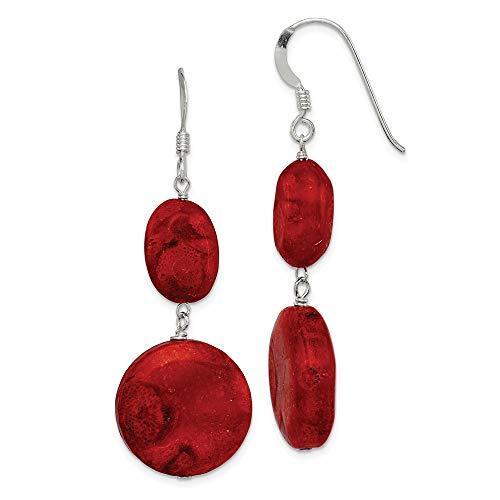 925sterling Silver ricostituito corallo rosso orecchini pendenti