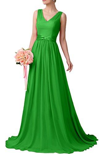 Gorgeous Bride Schlicht V-Ausschnitte Lang Chiffon A-Linie Schleppe Abendkleider Lang Cocktailkleider Ballkleider Grün