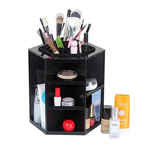 NBLYW Fashion 360 Grad drehbare Make-up-Aufbewahrungsbox sechseckiger Tischpinselhalter Schmuck-Organizer für Kosmetik, ideal für Arbeitsflächen, Badezimmer Schwarz