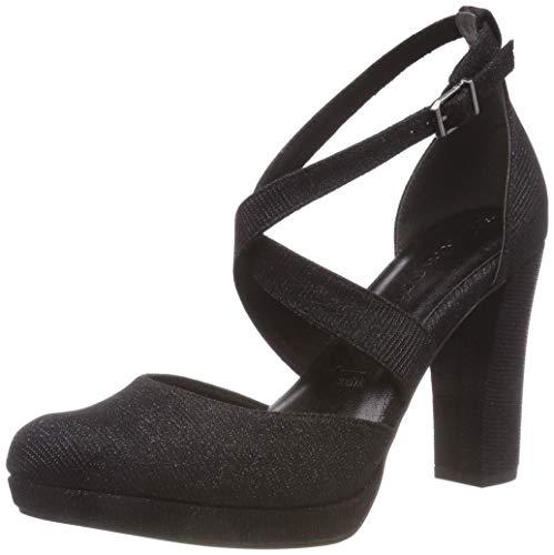 Tamaris 24416-21, Scarpe con Cinturino alla Caviglia Donna, Nero (Black Glam 43), 37 EU
