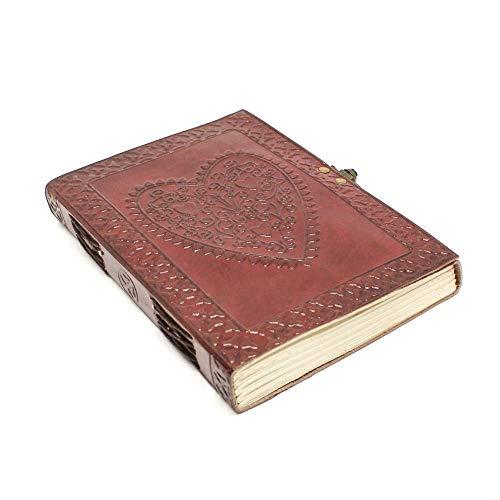 Dunkelbraune, Geprägte Leder (Notizbuch A5 Leder Travel Journal - Handgemachtes Ledergebundenes Herz Geprägt Travelers Notebook Tagebuch - Reisetagebuch Zum Selberschreiben - Blanko Paper, 16 x 21 cm)