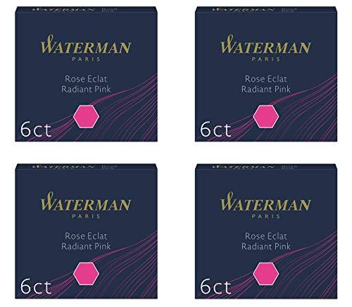 Waterman - 4 astucci di 6 cartucce internazionali, corte, per penna stilografica, colore: Rosa