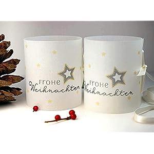 Set 6 x Lichthülle Frohe Weihnachten für Tischlicht für Teelicht oder LED Weihnachtsdeko Advent handmade