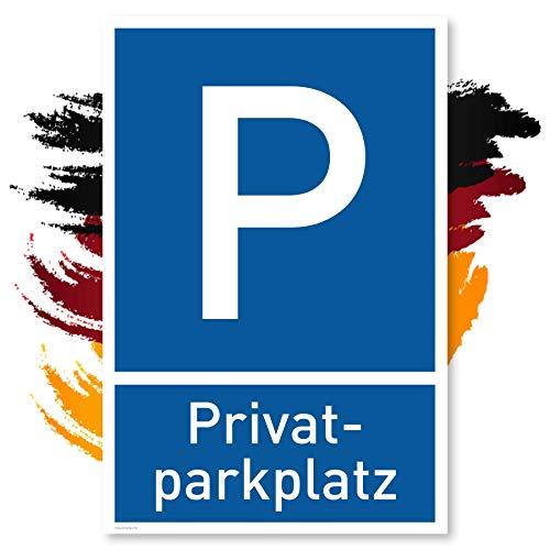 Privatparkplatz Schild (30x20 cm Kunststoff) - Parken Verboten - Privat - Klares Zeichen setzen - Parkplatz Schilder Privatgrundstück - Leicht zu montieren (Blau)