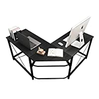 DlandHome L-Shaped Computer Desk, Composite Wood & Metal, Home Office PC Laptop Study Workstation Corner Table with CPU Stand Walnut Black & Black