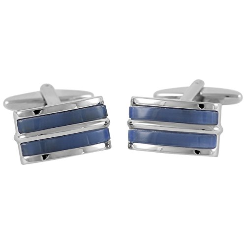 Lindenmann Classic G.CHABROLLE Cufflinks/Cuff Buttons, Silvery, Cats-Eye Blue, with Gift Box, 274