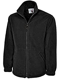 MENS OR WOMENS FLEECE JACKET QUILTED PADDING WARM WINTER WEAR (X-LARGE, BLACK)