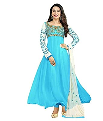 SAMAY CREATION Women's Georgette Embroidered Semi-Stitched Anarkali Salwar Suit Dress Materials (Sky Blue, Free Size)