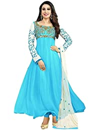 646d9d20bb SAMAY CREATION Women s Georgette Embroidered Semi-Stitched Anarkali Salwar  Suit Salwar Suits (Sky Blue