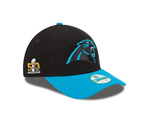 nfl-carolina-panthers-super-bowl-50-the-league-side-patch-9forty-adjustable-cap-black-teal-one-size-